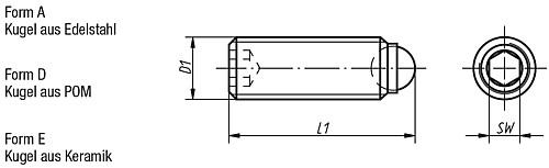k0384 kugeldruckschrauben ohne kopf edelstahl mit voller kugel. Black Bedroom Furniture Sets. Home Design Ideas