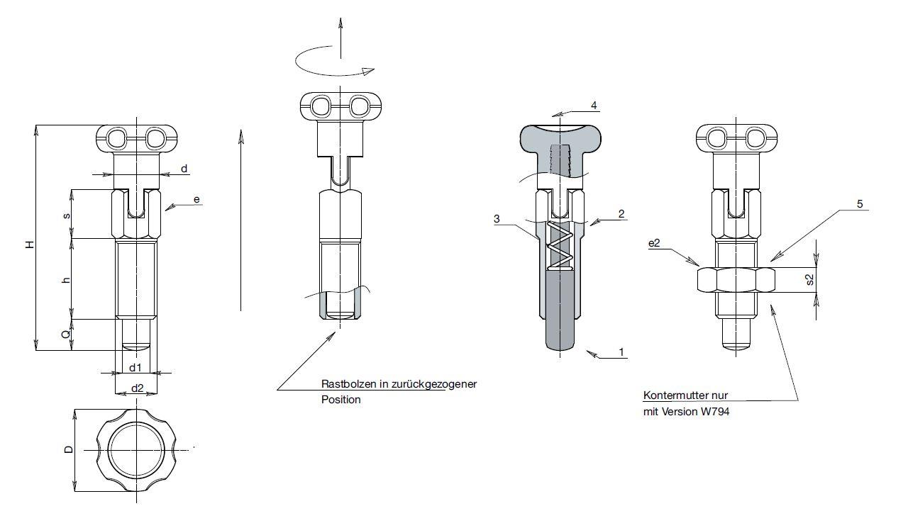 le w793c edelstahl rastbolzen mit rastsperre. Black Bedroom Furniture Sets. Home Design Ideas